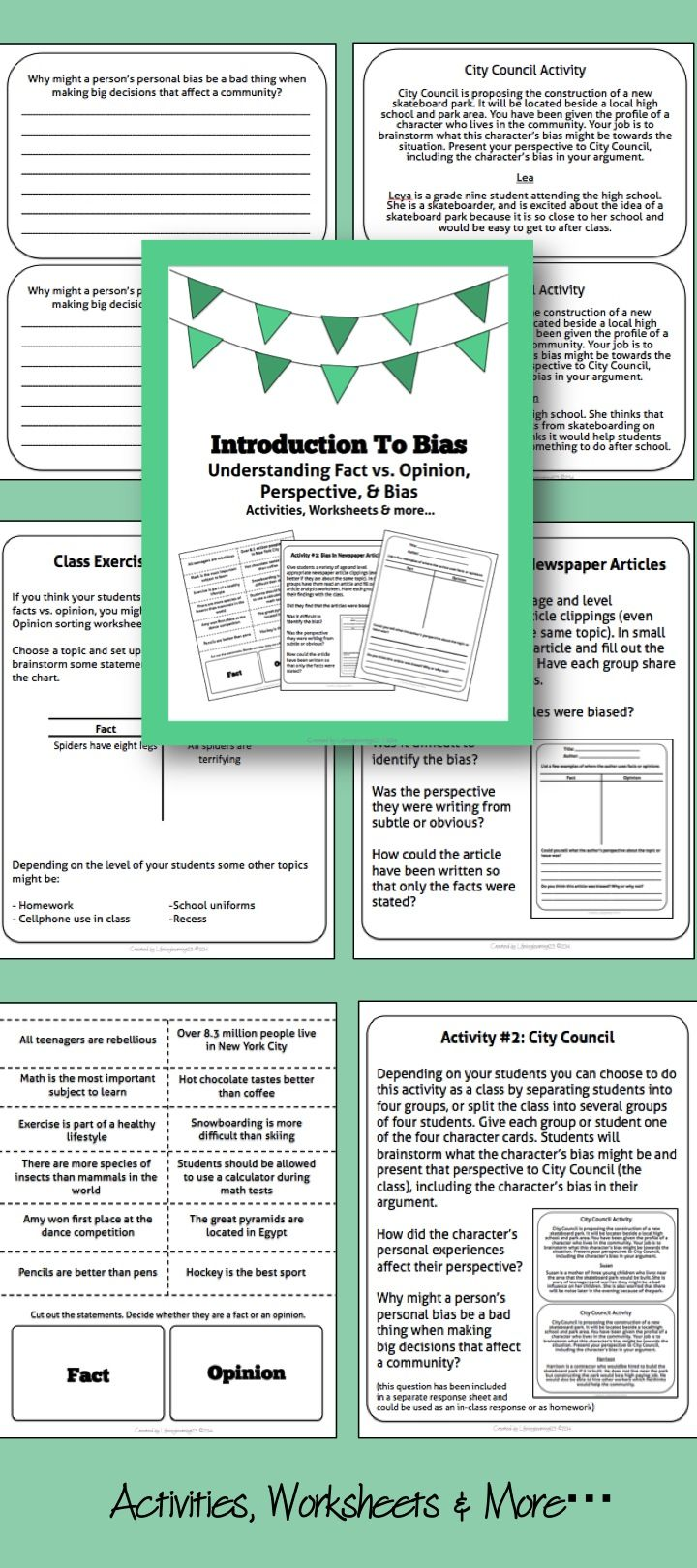 worksheet Fact Opinion Bias Worksheet introduction to bias understanding fact vs opinion perspective bias