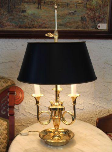 Baldwin Brass French Bouillotte Lamp 3 Trumpet Triple Horn
