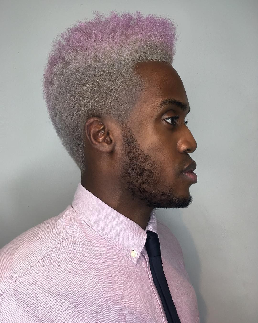 Afro High Top Fade With Silver To Pink Ombre Hair Color The Latest Hairstyles For Men And Women 2020 Hairstyleology Afro Fade Ombre Hair Color Silver Ombre Hair