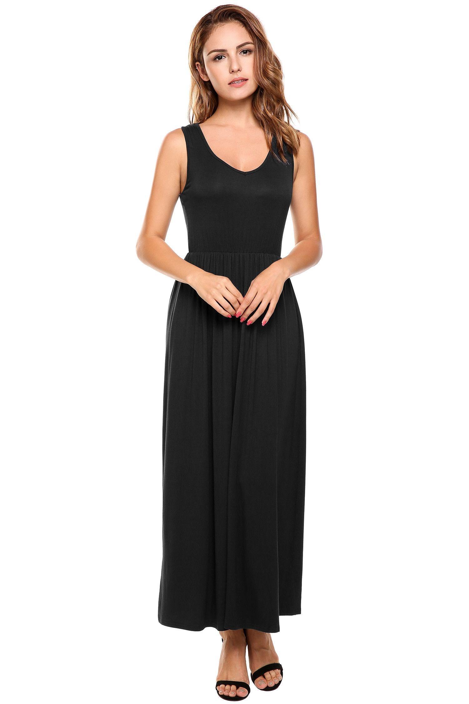 Black VNeck Sleeveless Elastic ALine Maxi Casual Dress