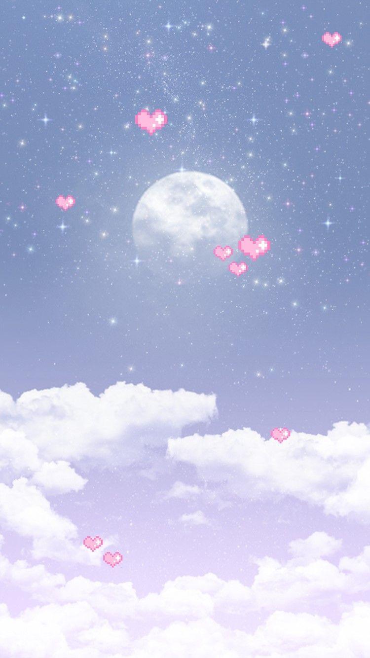 Youngrong Luna Llena De Fondo El Blog Naver Iphone Wallpaper Kawaii Cute Screen Savers Cute Pastel Wallpaper