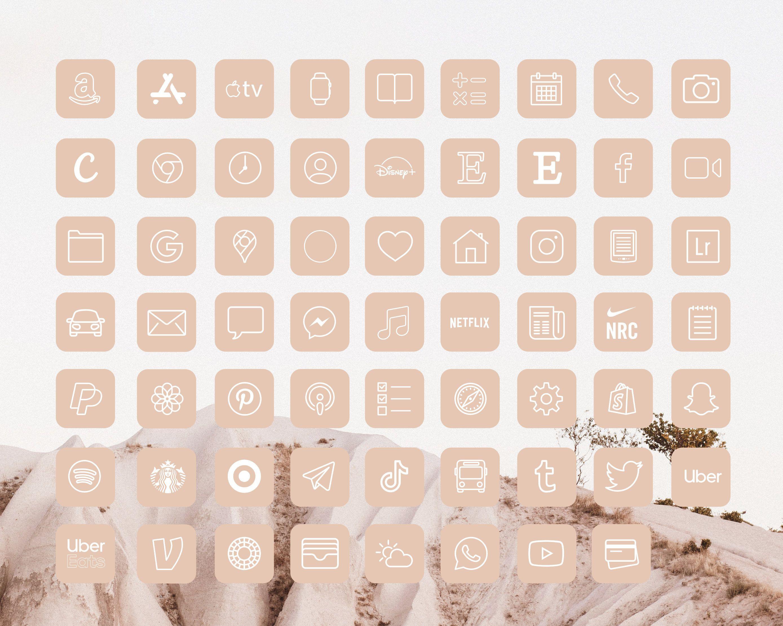 iOS14 Icons iPhone App Neutral Aesthetic | 62 App