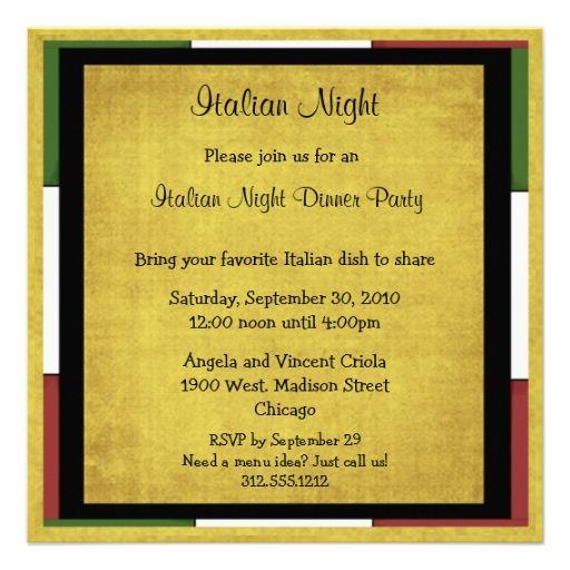 Italian Night Dinner Party Invitation Square Size Zazzle Com In