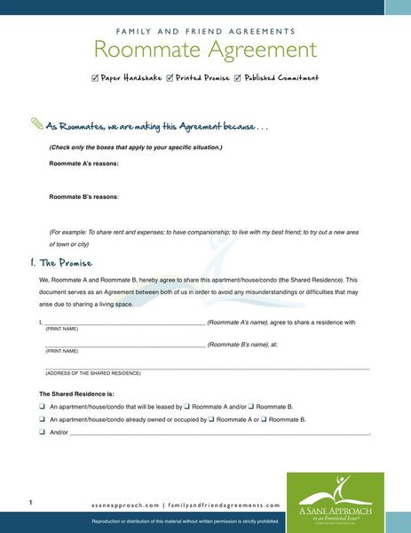 Printable Sample Roommate Agreement Form | Real Estate Forms Word ...