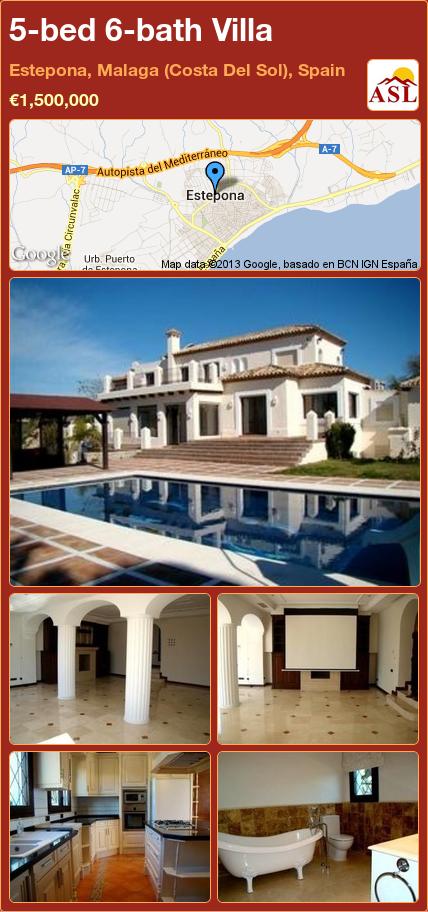 5-bed 6-bath Villa in Estepona, Malaga (Costa Del Sol), Spain ►€1,500,000 #PropertyForSaleInSpain