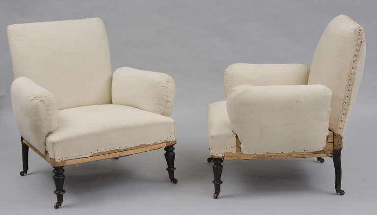 Unusual French Napoleon Iii Pair Upholstered Armchairs Bohemian Blues Upholstered Arm Chair Napoleon Iii Accent Chairs