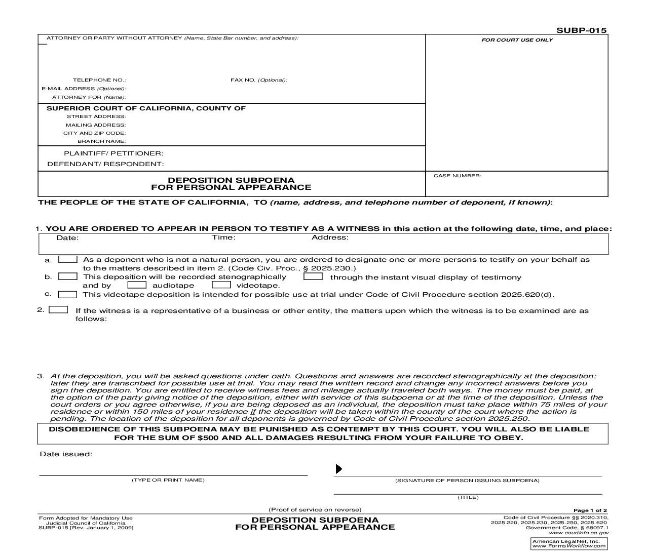 This Is A California Form That Can Be Used For Subpoena Within Judicial Council Download This Form For Free Now Californi California California State Person