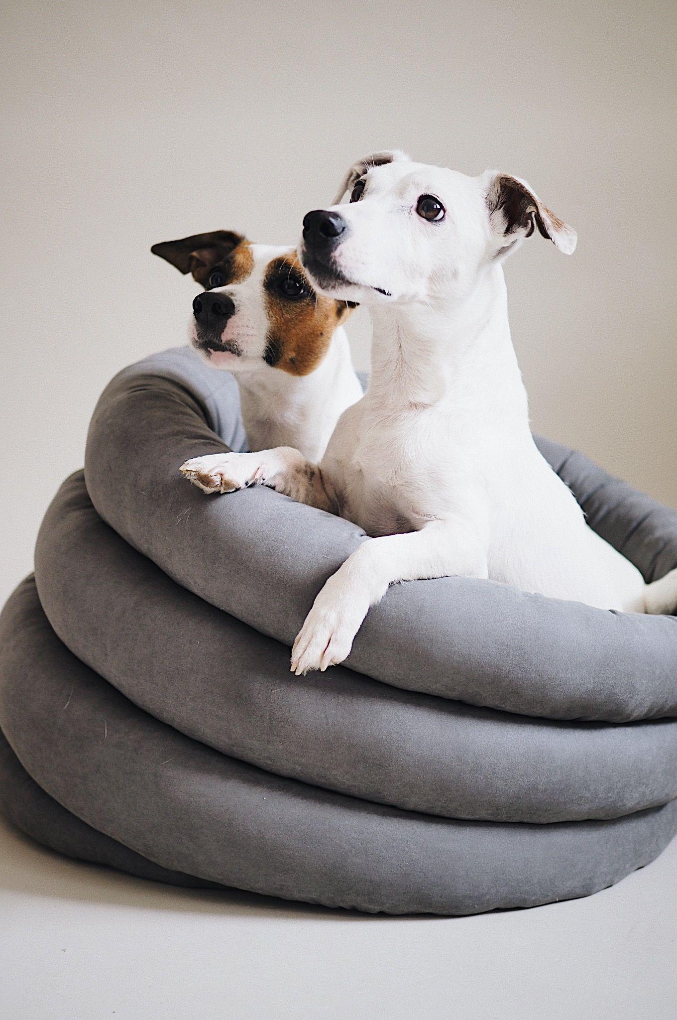 Round Dog Bed Graphite Washable Pet House Handmade Dog