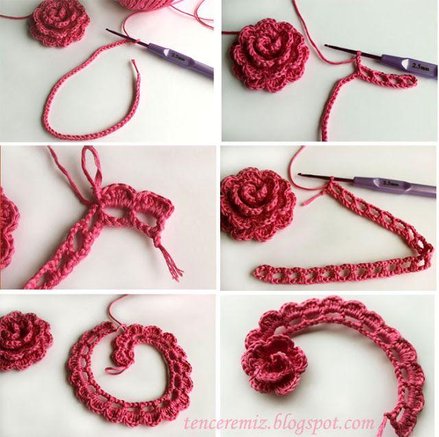 Crochet flowerTutorial crochet Pinterest Flor Tejido y Ganchillo