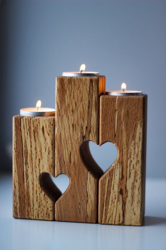 Photo of Wooden Heart Candle Holders Set of Three Classic Candle Holders Special Gift Christmas Decor Wooden