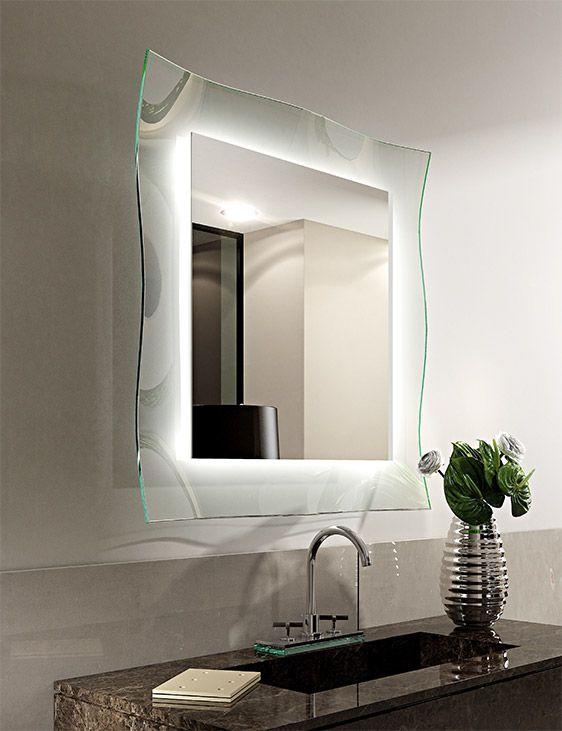 Specchio retro illuminato led ginevra riflessi con cornice for Design per interni