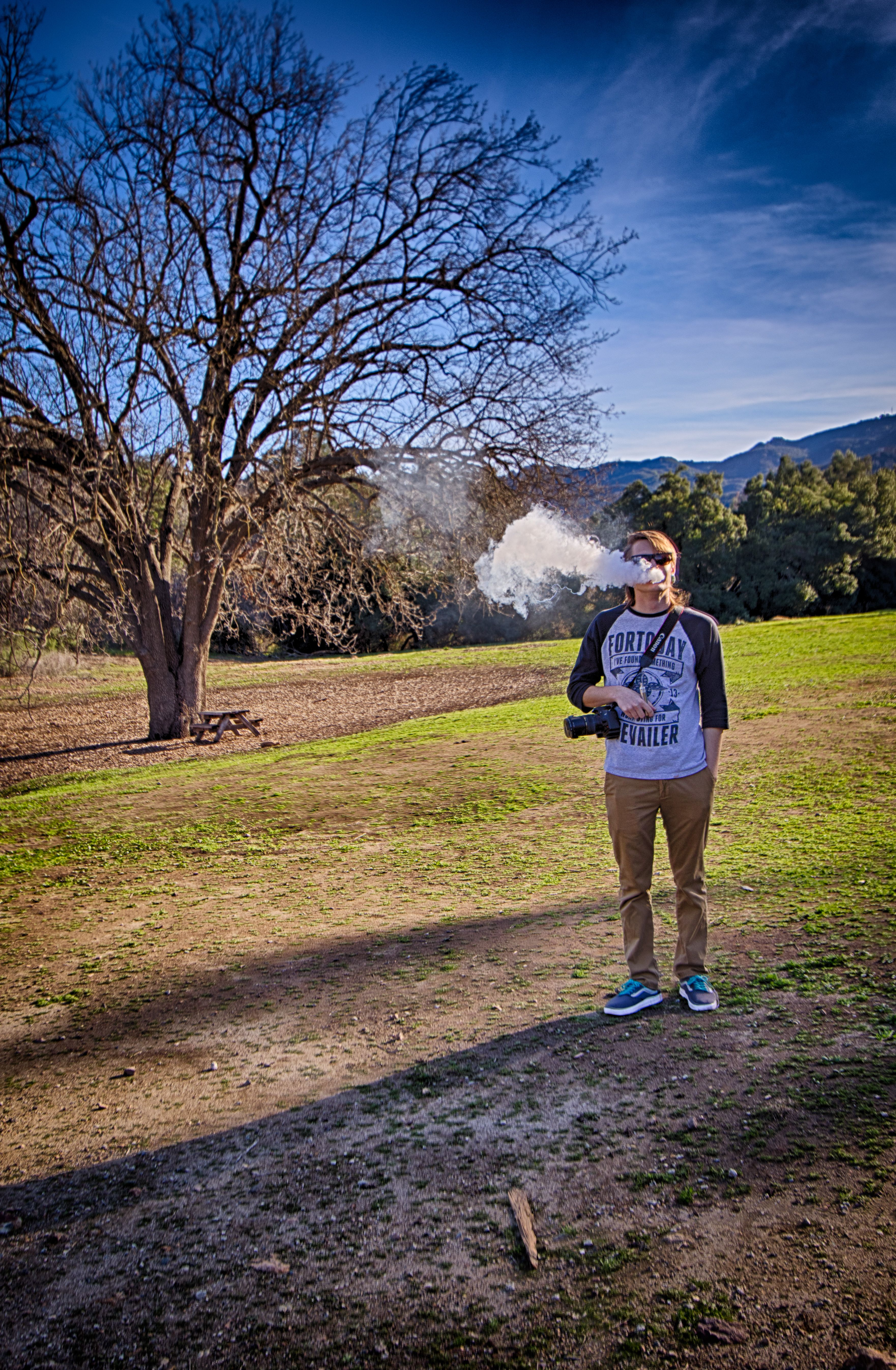Vaping on the set of Ballistic Vapes last photo shoot. Messing around with HDR to see the effect it has on a cloud.