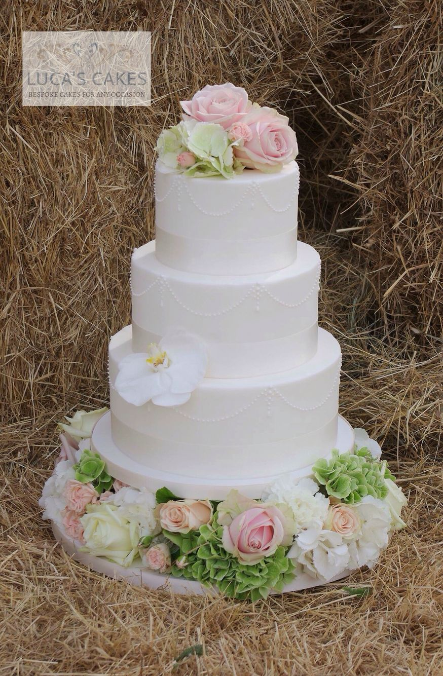 3 tier piped swags wedding cake with fresh flowers   cakes ...