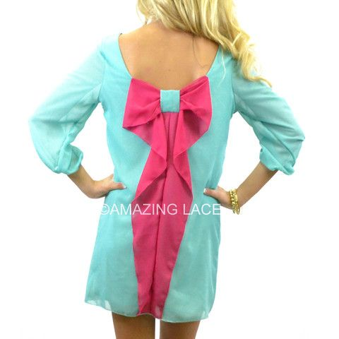 Blue Sorbet Teal & Pink Big Back Bow Dress | Amazing Lace