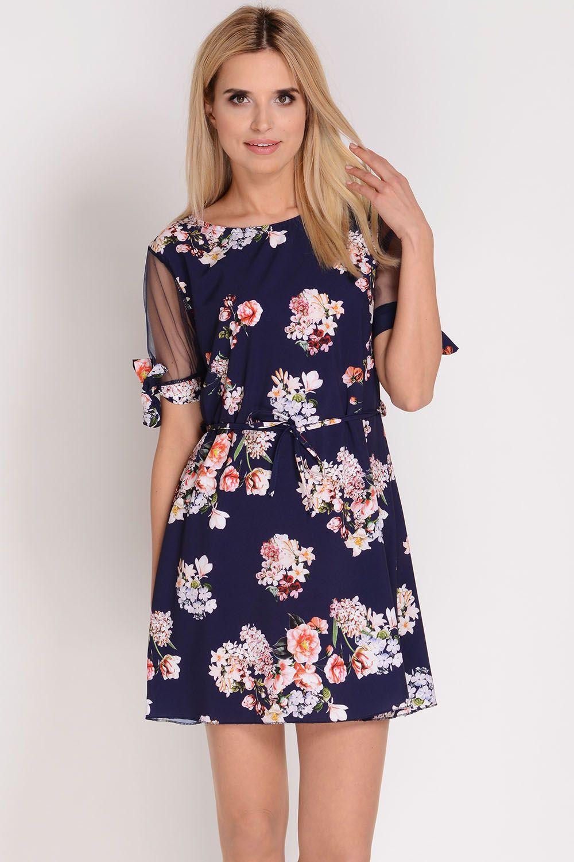 2d4b9403d77eec AVARO Śliczna sukienka w kwiaty SU-1370, Kobieta Odzież Sukienki - Avaro.pl