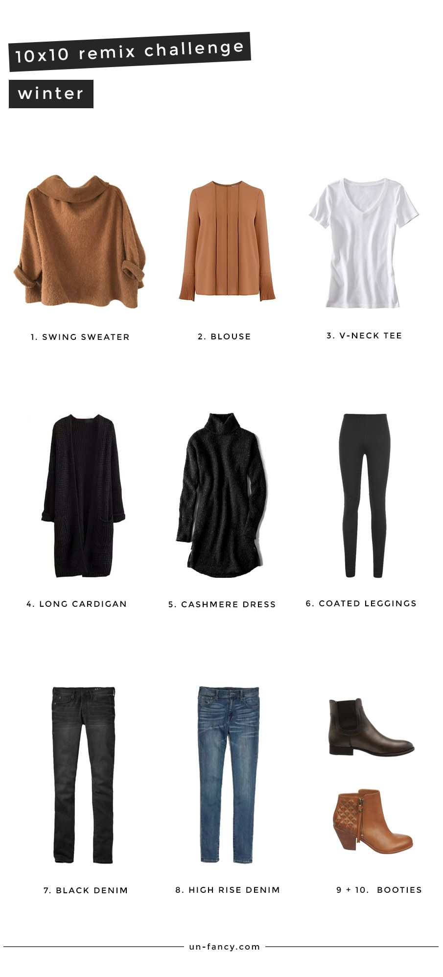 Winter Remix 10 Pieces 10 Outfits 10 Days Winter Capsule Wardrobe Capsule Wardrobe Outfits Capsule Wardrobe