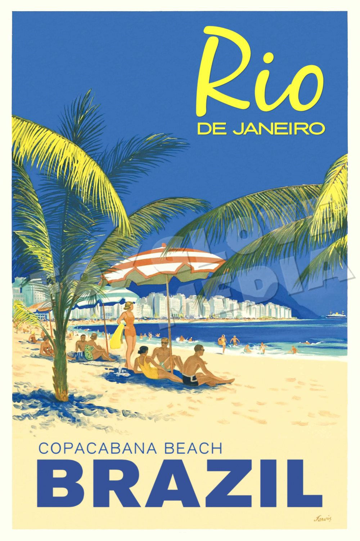 Rio De Janeiro Retro Travel Poster Print Brazil Travel Sunshine
