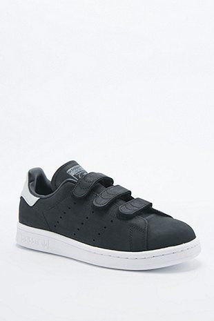 adidas Originals Stan Smith Black Velcro Trainers ...