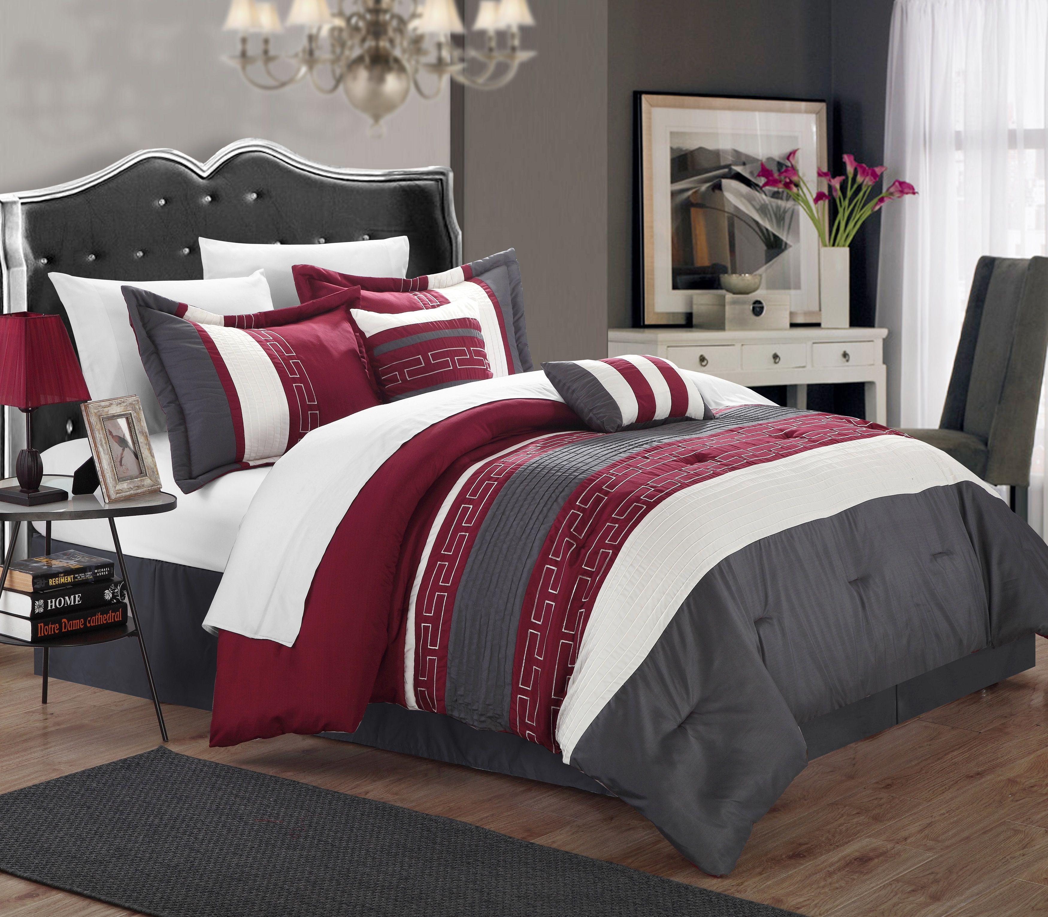 Carlton 10 Piece Comforter Set King Size Burgundy Sheet