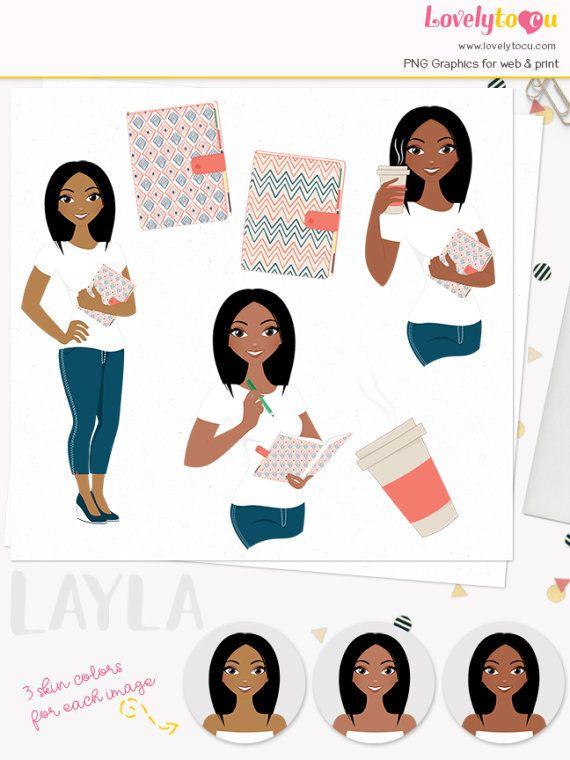 Planner Girl Character Clipart Journal Woman Diary Mom Organizer Wedding Planning Digital African American Dark Skin Layla L192