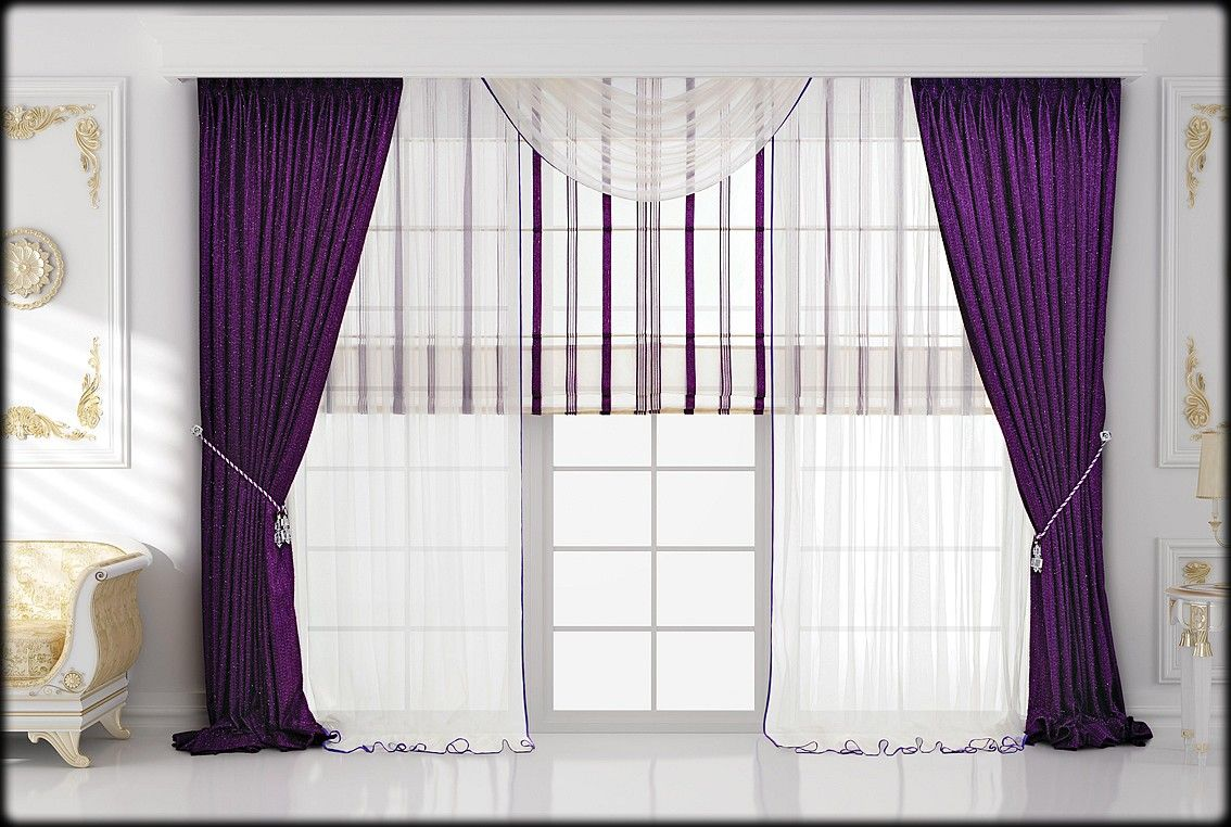 Attrayant Sweet Violet Bedroom Curtain Photos Collection : Lovely Violet Drapery  Bedroom Curtain Ideas With White Ceramic Floor And White Wall Painting For  Luxury ...