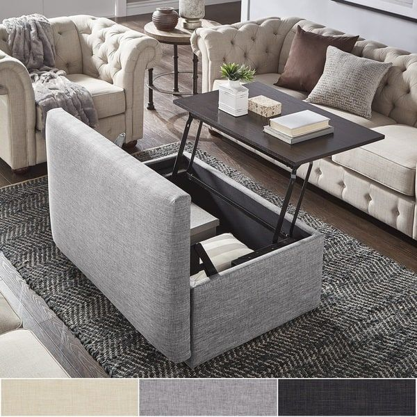 Landen Lift Top Upholstered Storage Ottoman Coffee Table By