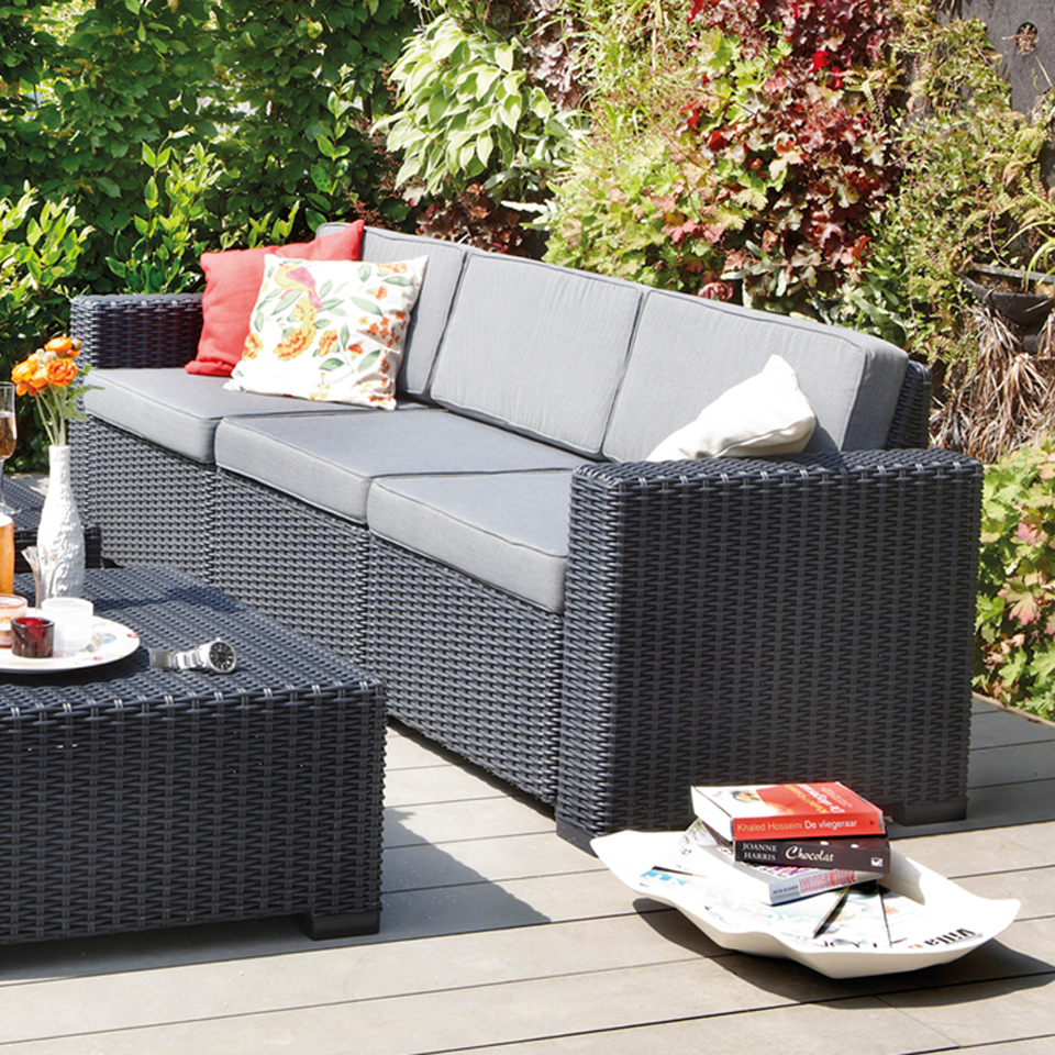Allibert Graphite Grey 3 Seater Rattan Sofa Sets   California   G H Direct. Allibert Graphite Grey 3 Seater Rattan Sofa Sets   California