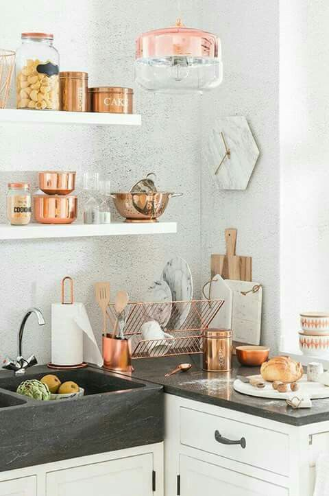Rose Gold + Copper Kitchen Details