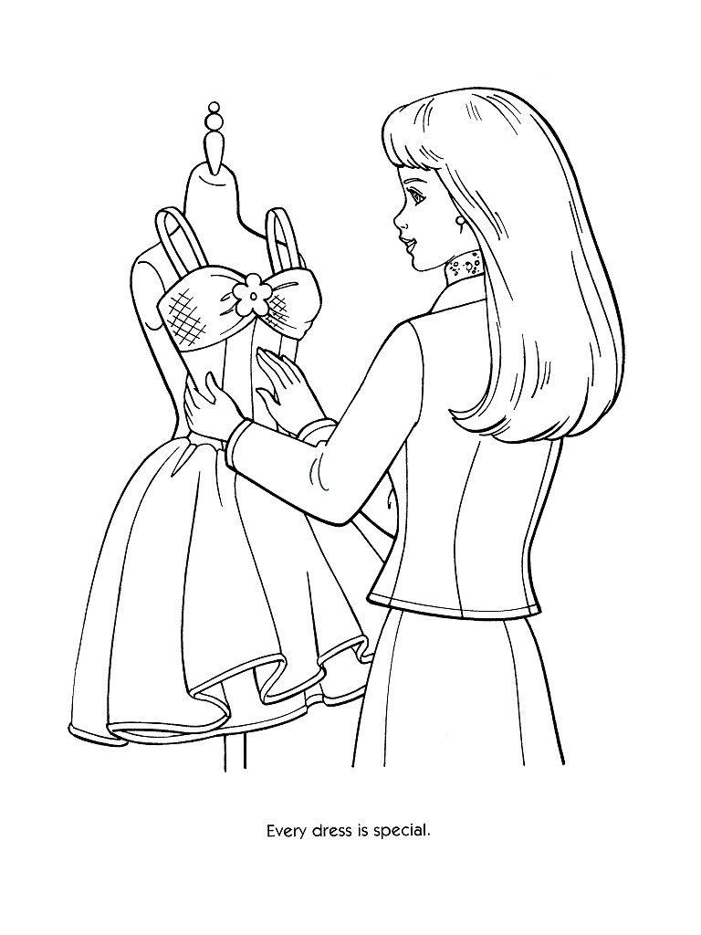 Barbie colouring pages fashion fairy tale dresses images