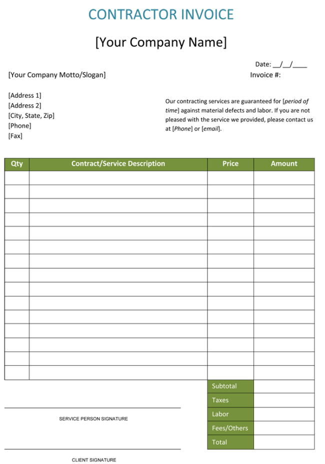 construction invoice template word  Construction Invoice Template | invoice | Pinterest | Template and ...