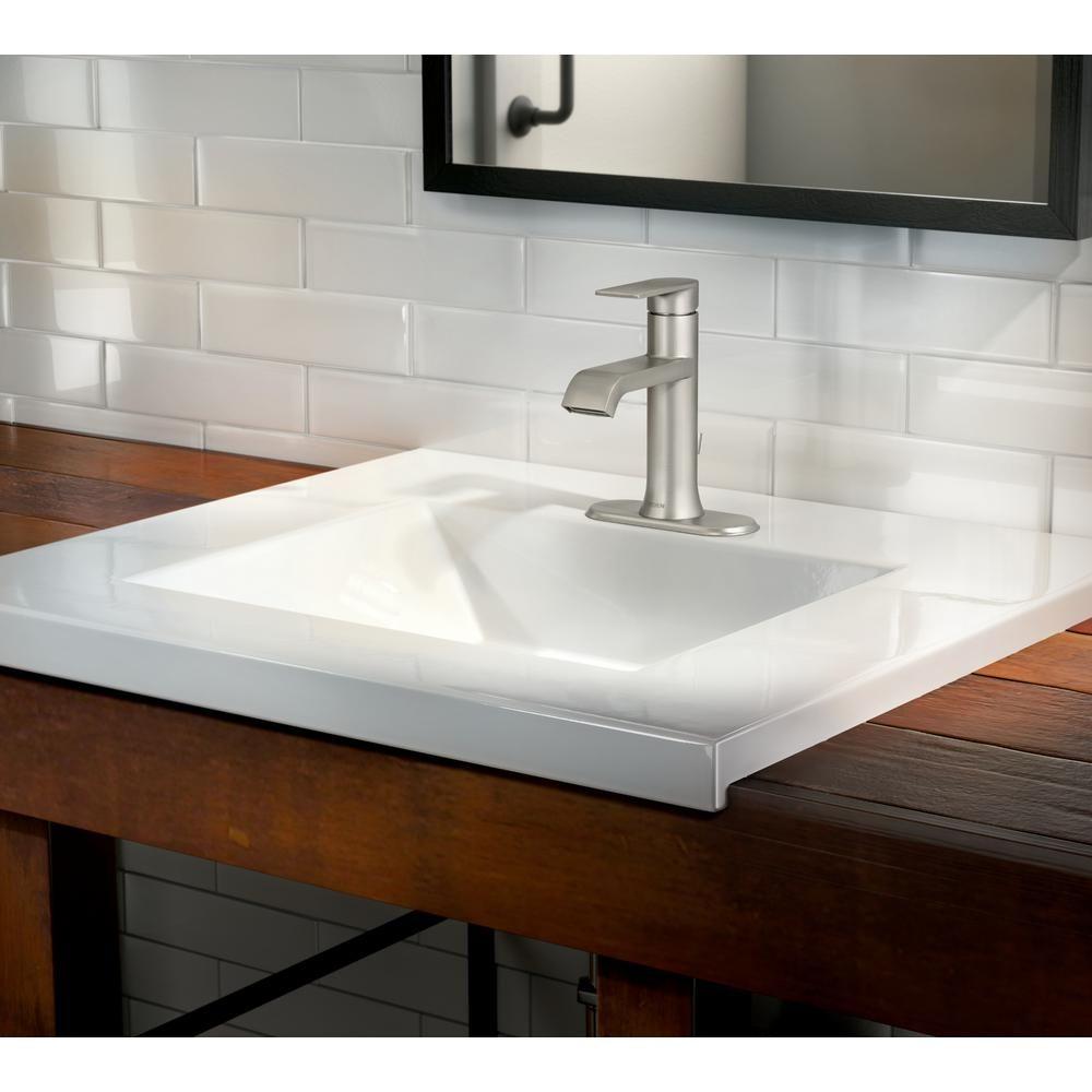 Moen Genta Single Hole Single Handle Bathroom Faucet In Spot Resist Brushed Nickel Ws84760srn The Home Depot Single Handle Bathroom Faucet Bathroom Faucets Faucet [ 1000 x 1000 Pixel ]