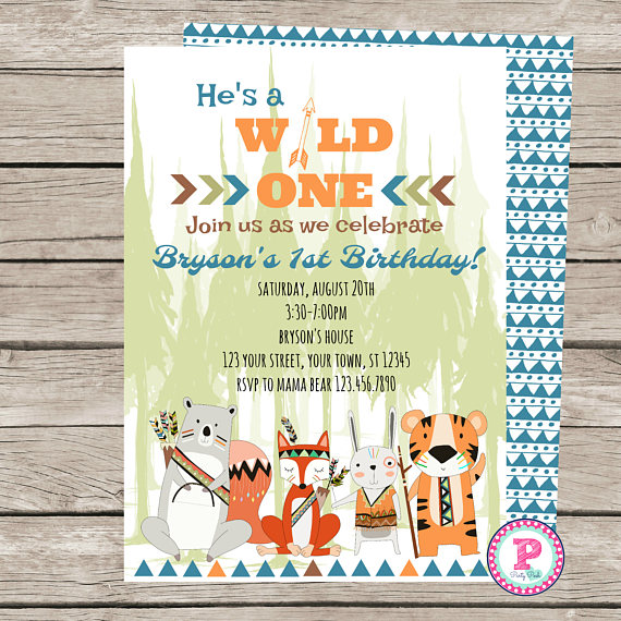 Wild One Birthday Party Invitation Zoo Tiger Bear Fox Rabbit Woodlands Tribal 1st Boy Forre