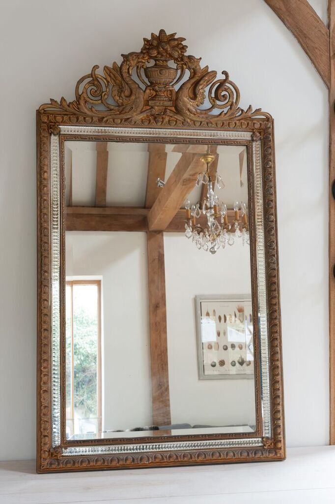 Antique French Griffin Crested Top Mirror With Venetian Gl Trim Decorative Antiques Uk