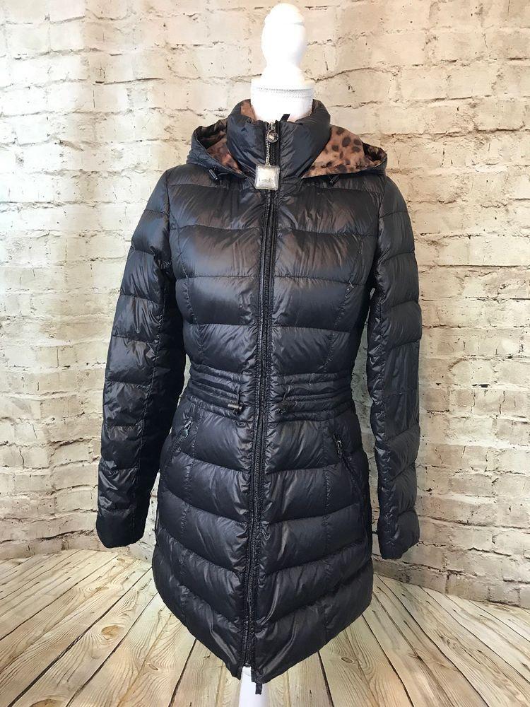 Laundry Shelli Segal Black Down Puffer Long Jacket Large Leopard