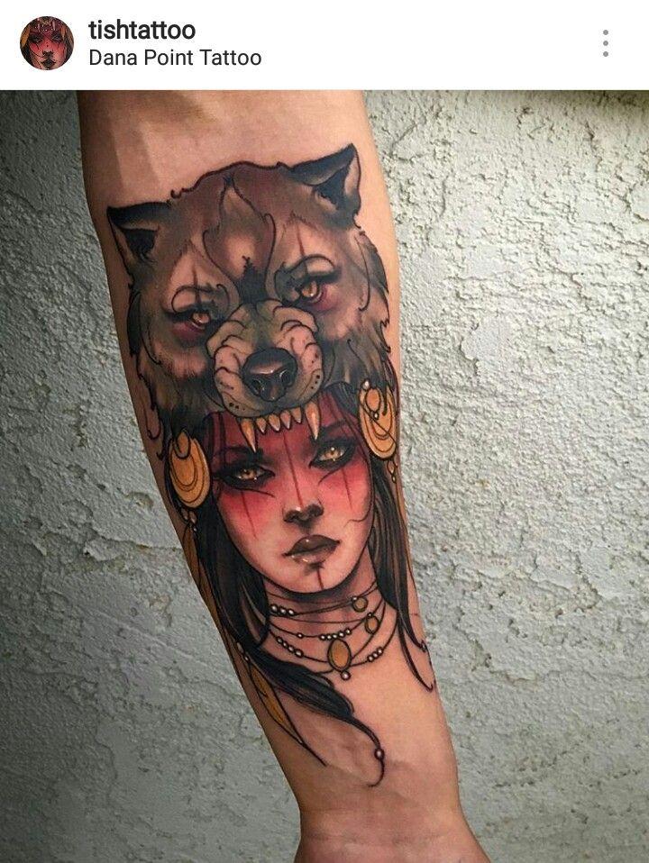 Wolf Girl Neo Traditional Tattoo Wolf Girl Tattoos Headdress Tattoo Trendy Tattoos