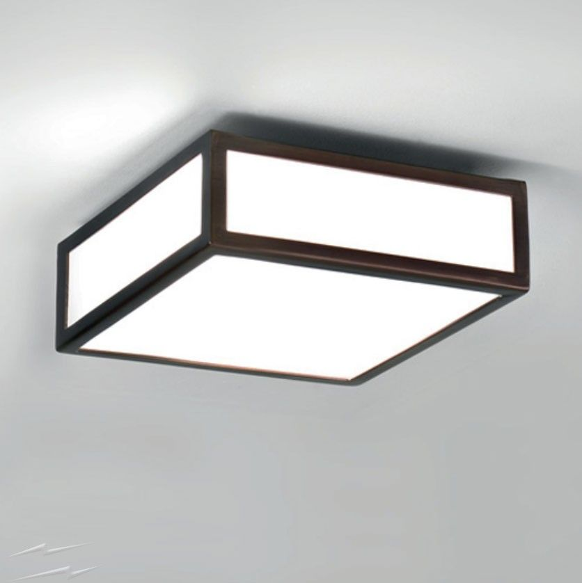 Mashiko 200 Square Bathroom Light In Bronze With White