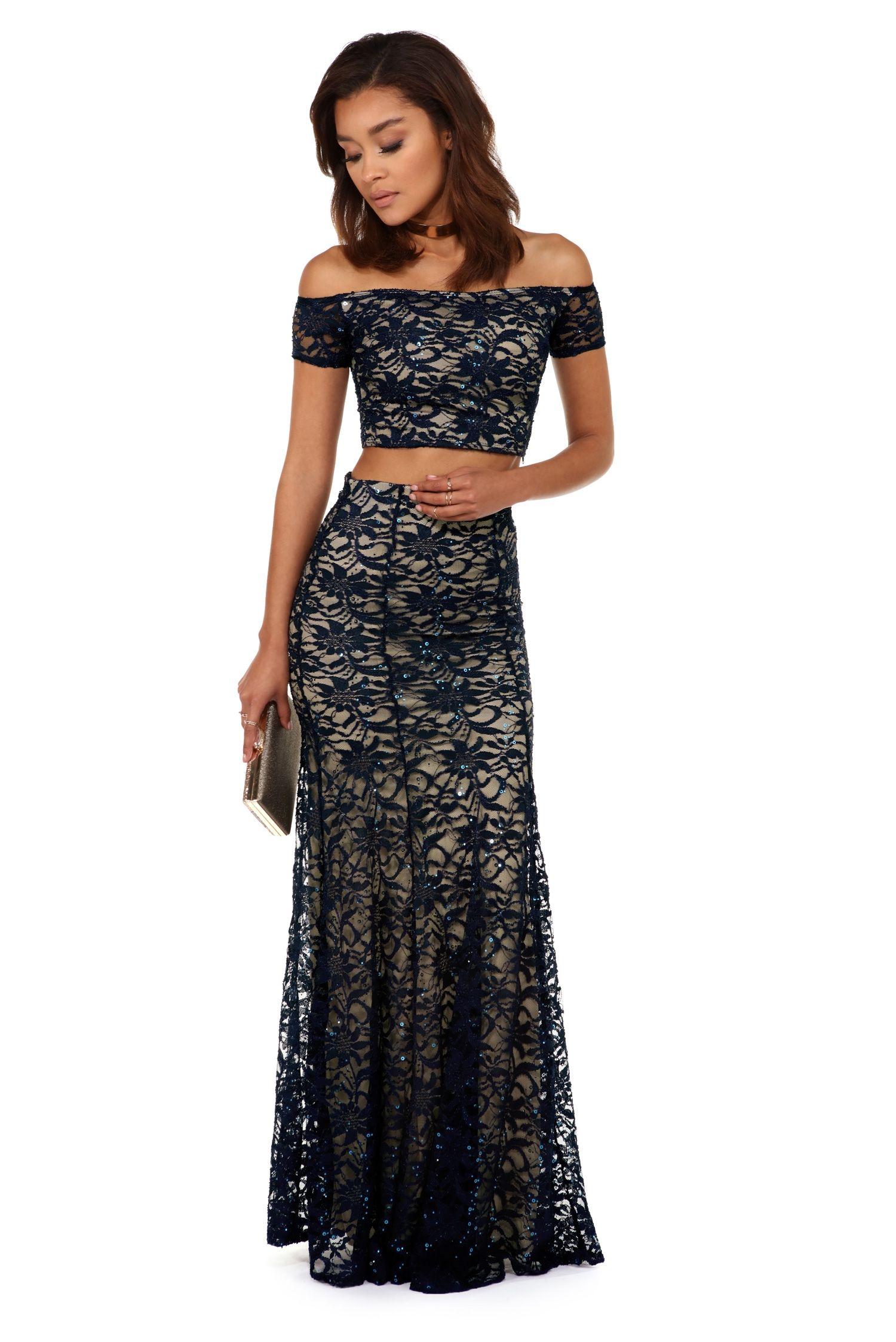 Leslie Navy Sequin Lace Two Piece Evening Gowns Elegant Womens Long Dresses Womens Prom Dresses [ 2247 x 1500 Pixel ]