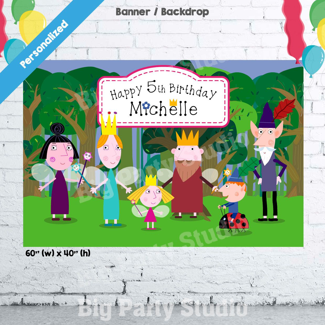 Ben And Holly Banner Ben And Holly Birthday Backdrop Ben Holly Party Poster 60 Quot W X 40 Quot H Birthday Backdrop Ben And Holly Personalized Banners