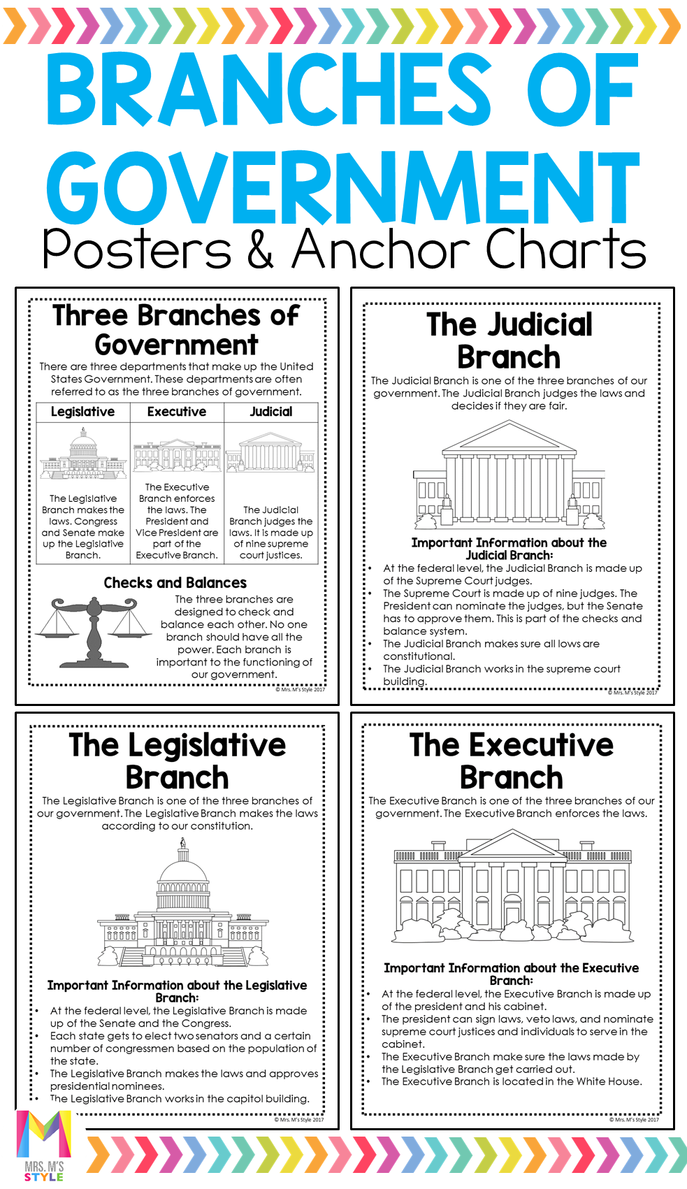 Branches Of Government Anchor Charts In 2020 3rd Grade Social Studies Social Studies Lesson Plans Social Studies Classroom