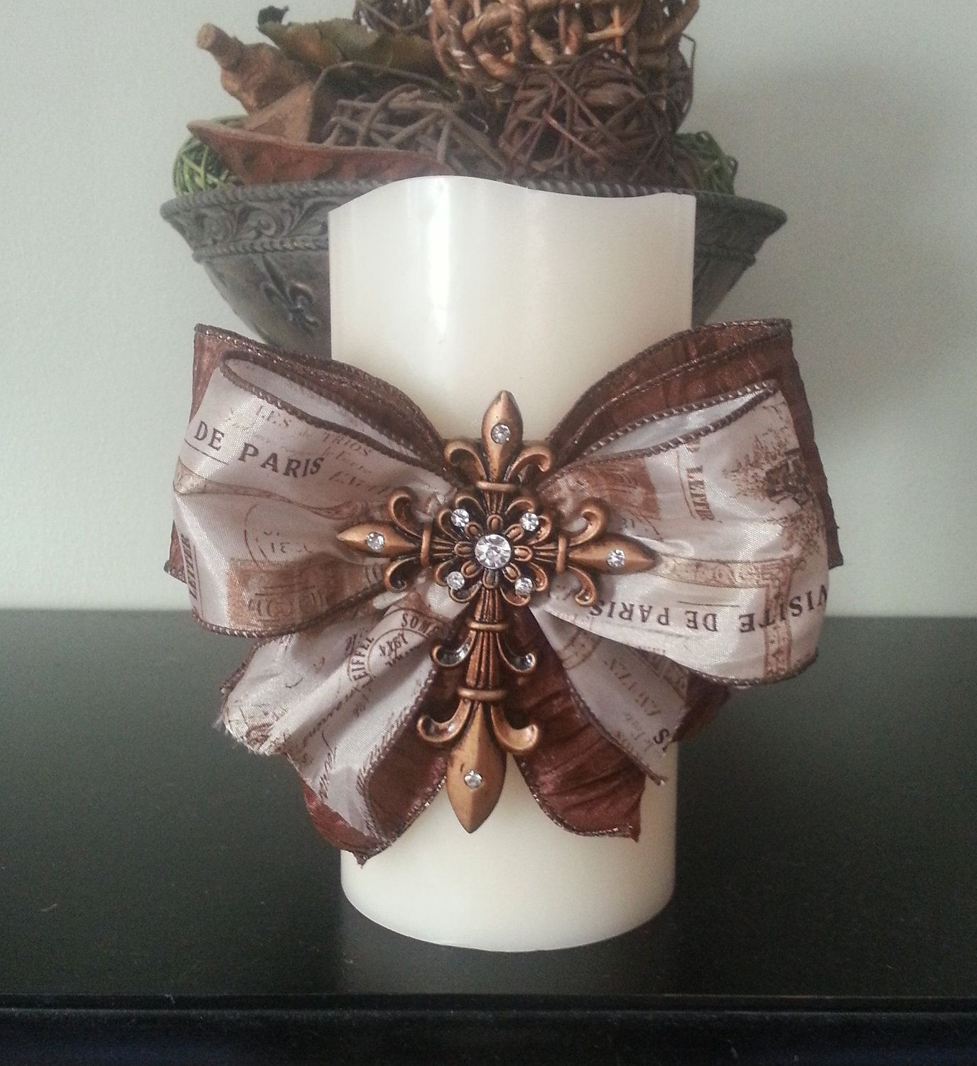 Home Decor Hostess Gifts: Embellished Candle Cross Ribbon Candle Cross Candle French