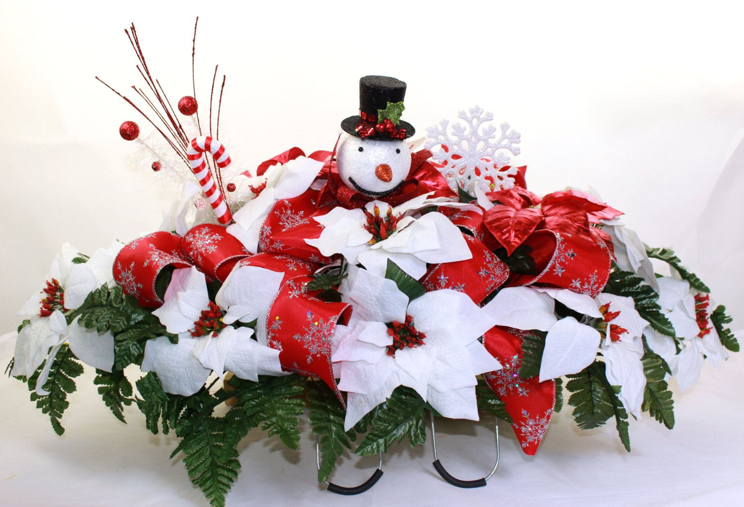 Holiday Christmas White Poinsettia S Silk Flower Cemetery Tombstone Saddle Headstones Decorations Sympathy Flowers Christmas Wreaths