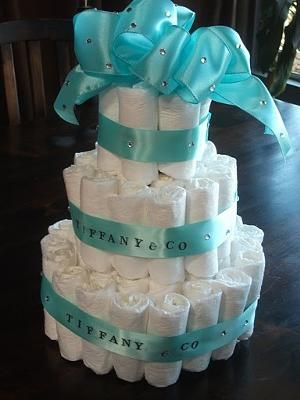 Tiffany Blue Diaper Cake OMG!! I Want This If I Have A Girl! Baby Diaper  CakesBaby Shower ...