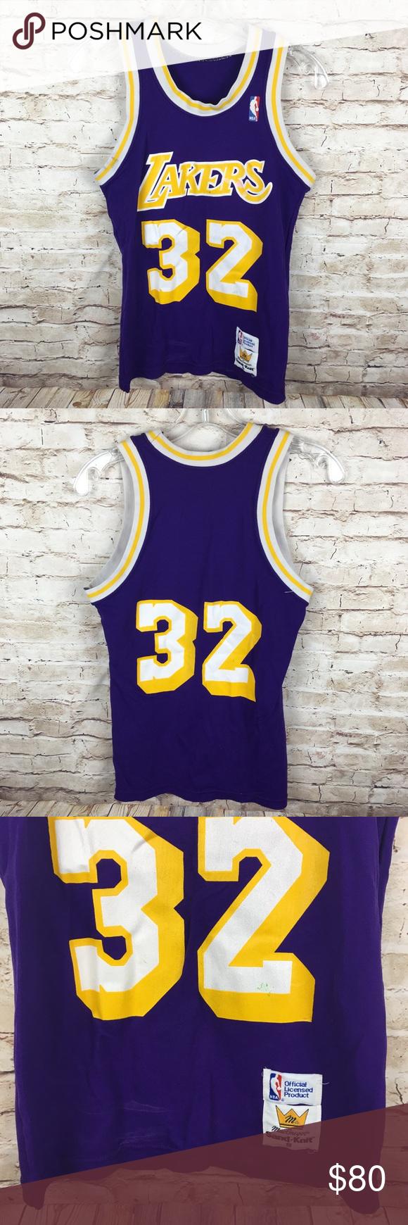 f6cd545b4 80s LA Lakers Magic Johnson Sand Knit Jersey Vintage 1980s Los Angeles  Lakers Magic Johnson Sand