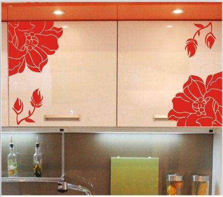 Drawer flower decals roman magnolia flower floral elegant vinyl wall decal sticker glass