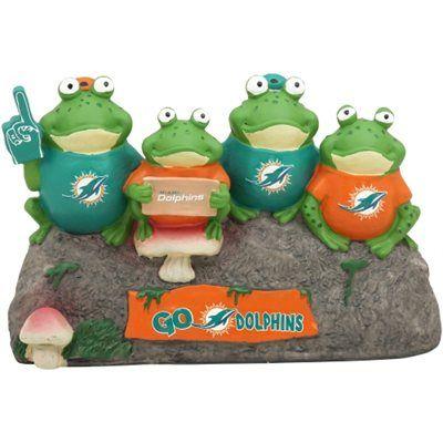 Miami Dolphins Frog Bench Garden Statue