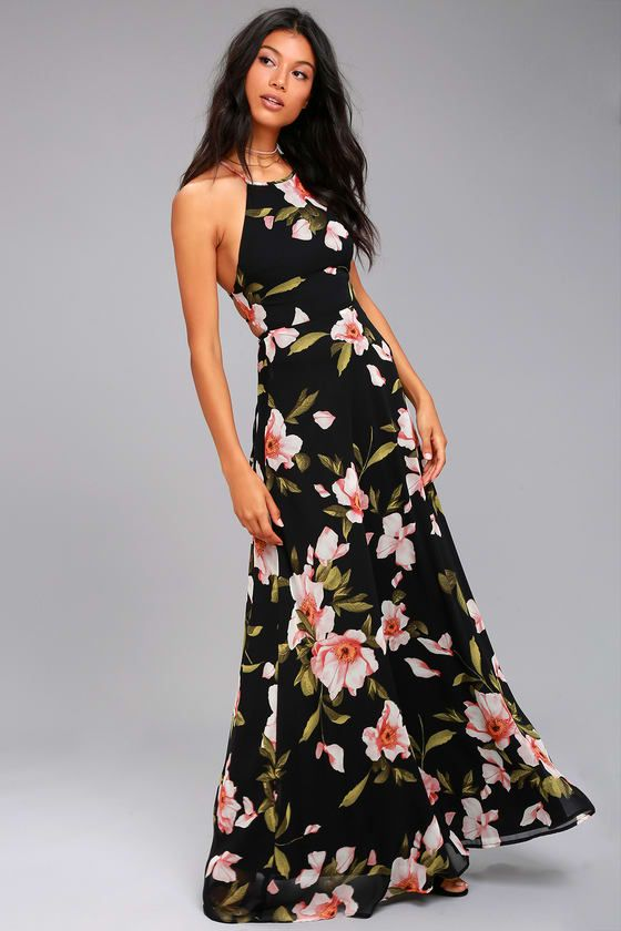 d94da3f34ab7 Don't forget to take along the Adventure Seeker Black Floral Print Maxi  Dress! Black chiffon, with a pink, green, and cream floral print, ...