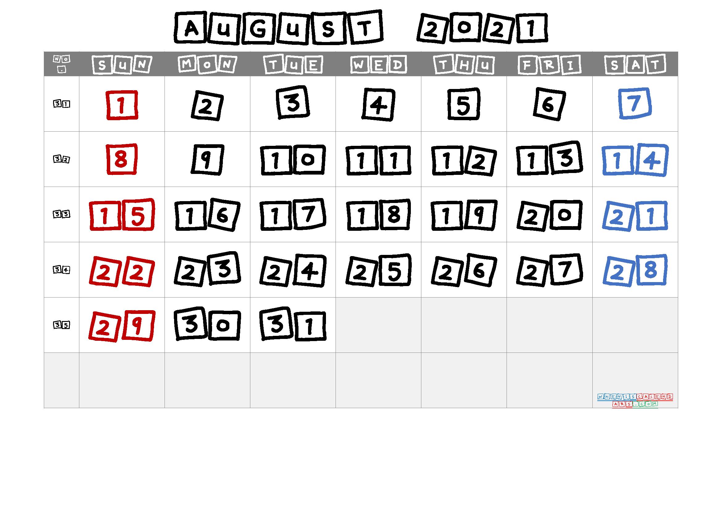 Free Printable August 2021 Calendar Premium In 2020 Calendar Printables June Calendar Printable Free Printable Calendar