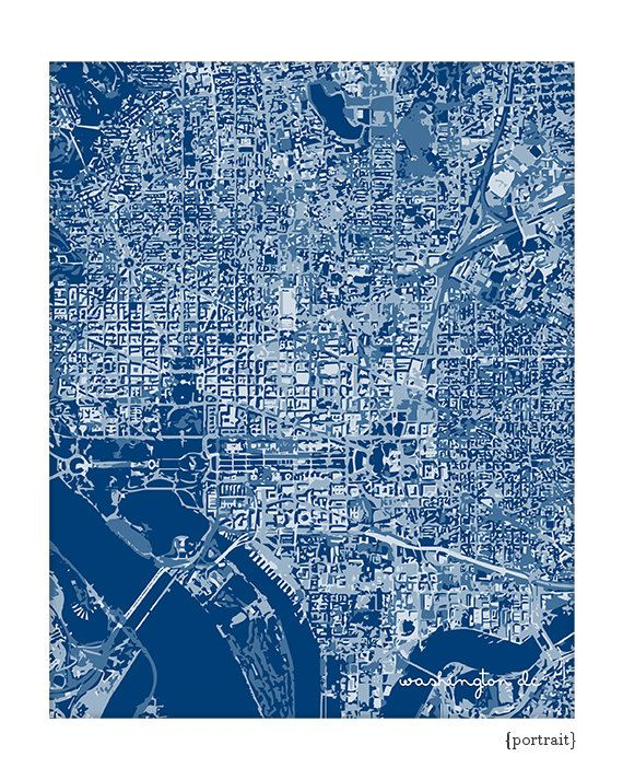 Washington Dc Wall Art washington dc cityscape art print / graphic city map wall art