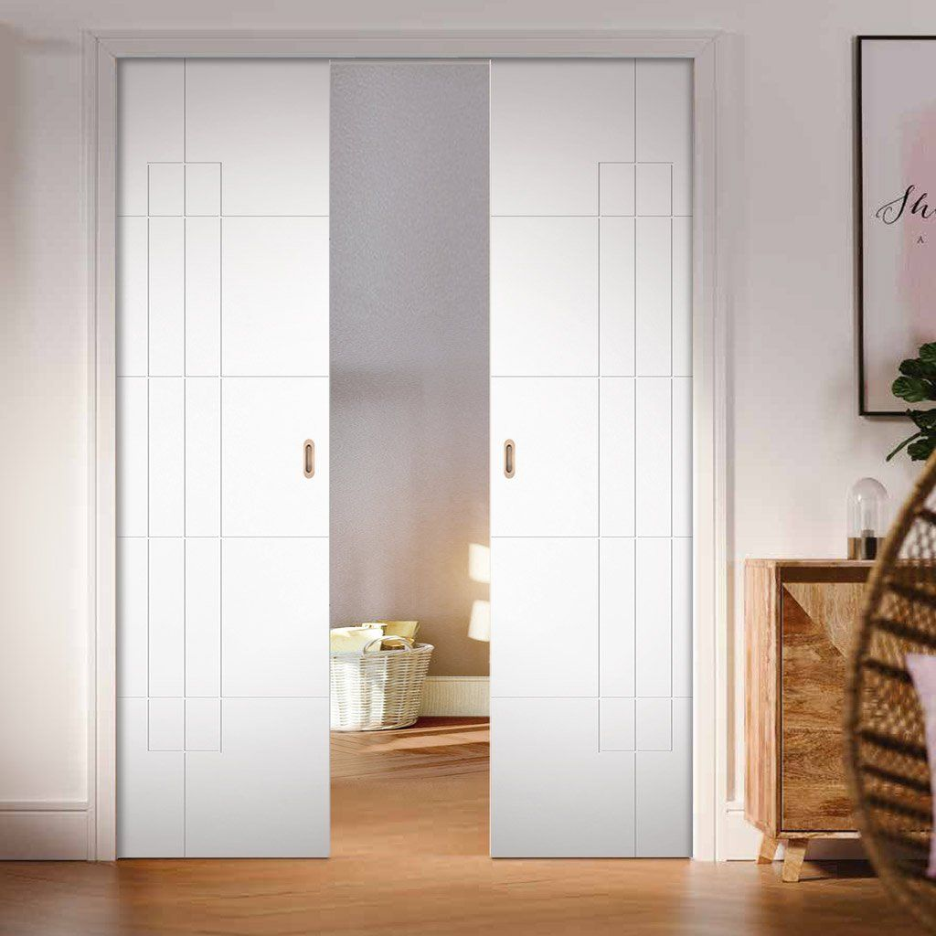 Hove Flush Double Evokit Pocket Door White Primed Pocket Doors Sliding Bedroom Doors Cavity Sliding Doors