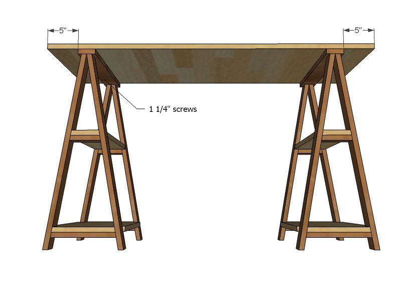 1x3 Sawhorse Desk Sawhorse Desk Diy Desk Diy Furniture